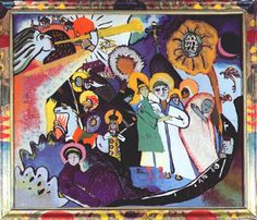 Todos los Santos I, cristal pintado por detrás, de Wassily Kandinsky (1866-1944, Russia)El paraíso está representado como una gran flor.Arriba se ve el arca de Noé y la paloma.También Moscú como la Nueva Jerusalén,el sol sale a su lado y el ángel toca la trompeta.En la parte inferior,San Jorge y el dragón.