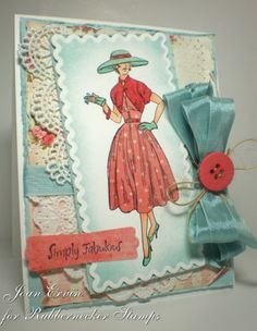 Hello everyone and welcome to another Creative Belli Challenge ! The challenge this two weeks is to use paper piecing . Remember, the spi. Couture Vintage, Sewing Cards, Shabby Chic Cards, Marianne Design, Vintage Patterns, Vintage Sewing, Vintage Dress, Vintage Style, Vintage Ladies