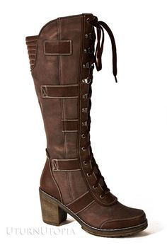 Available @ UturnUtopia.com Distress Brown Lace Up Knee High Steampunk Victorian Vintage Style Boots