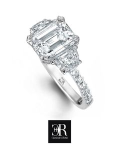 Luna. Twin moon cut diamond set shoulders flank a finely proportioned 1.65 carat emerald cut centre set with triple claws. All Xc Xc, matched Rare White Plus, Vvs2. Fully hand made platinum setting. Voila - a modern masterpiece. Exclusive to Charles Rose. Come share our passion for beauty and excellence. #diamonds #platinum #love