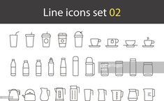 cup, glass, bottle, kettle simple icons set, vector : Vector Art