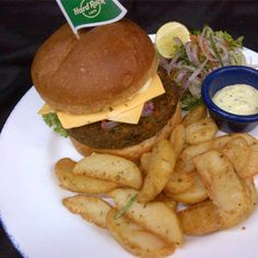 Sri Lankan Veg Burger - southern spiced vegetable burger served with mozzarella cheese and curry flavored aioli  Compliment this burger with a Bacardi Coconut & Curry Leaves frozen Daiquiri