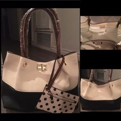 Handbag - Ivory / Black  Brand New Never Used ! Super Cute Large Handbag has lots of space. Comes w/ long attachable shoulder strap. Interior- 1 zipper pocket 2 open pockets. Bags