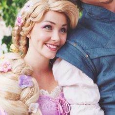 Rapunzel resting her head on Flynn/Eugene's Shoulder aww!