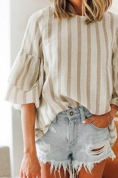 Sandalwood Taupe Striped Top