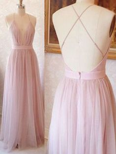 Simple A-line Straps Pink Tulle Long Prom Dress Formal Dress