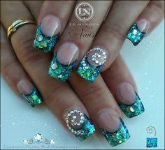 Paua shell Nails with Koru Spiral.. glittery Blue Nails..