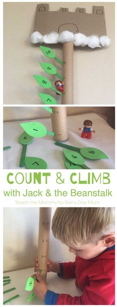 Count and climb Jack's beanstalk with this fun early year maths activity for toddlers and preschoolers for the classic Fairy Tale Jack and the Beanstalk Ages 3 and 4 Count each object only once. Identify the next number in a series of numbers up to ten. World Book Day Activities, Math Activities For Toddlers, Fairy Tale Activities, Counting Activities Eyfs, Counting In 2s, Maths Eyfs, Nursery Rhymes Preschool, Nursery Activities, Toddler Preschool