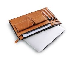 Light Brown Leather Organizer Clutch Case for iPad, MacBook | XIAOZHI