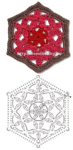 Lots of crochet motifs!  Squares, hexagons, triangles! Цветочные мотивы крючком