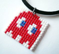 Pac-Man Ghost - Handmade Beaded Pendant & Necklace - High Quality Beads #Handmade #Beaded #Pac-Man #Pendant #Necklace