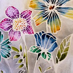 BEAUTIFUL masking technique with Christine Adolphs new Watercolor Resist Pen! #resist #watercolor #flowers