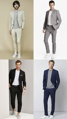 8 Of The Best High-Low Outfit Combinations Mens Casual Suits, Grey Suit Men, Smart Casual Menswear, Mens Fashion Suits, Mens Suits, Grey Blazer Outfit, Blazer Outfits Men, Best Smart Casual Outfits, Streetwear
