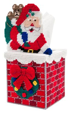 Mary Maxim - Down the Chimney Tissue Box Cover Plastic Canvas Kit - Seasonal Plastic Canvas Ornaments, Plastic Canvas Tissue Boxes, Plastic Canvas Christmas, Plastic Canvas Crafts, Baby Crafts To Make, Quick Crafts, Simple Crafts, Diy Crafts, Plastic Canvas Stitches