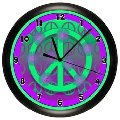 Purple and Green Peace Sign Wall Clock by cabgodfrey on Etsy