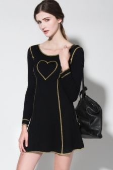Vintage 90s Moschino Black Gold Heart Dress http://thriftedandmodern.com/vintage-90s-moschino-heart-dress