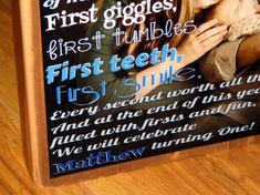 FIRST BIRTHDAY Poem Block XL Personalized by WasteNotRecycledArt, $30.00