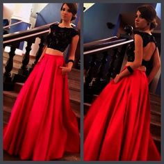 Sexy two piece prom dress,red and black keyhole back graduation dress,black lace party dress,fashion two piece evening Lace Party Dresses, Cheap Prom Dresses, Trendy Dresses, Homecoming Dresses, Bridesmaid Dresses, Long Dresses, Bridesmaids, Formal Dresses, Lace Dress With Sleeves