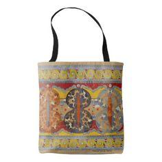 bright fall colours, geometric image, stylish, fab tote bag