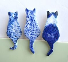 Handpainted Delft porcelain Cat brooches by Harriet Damave