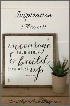 ENCOURAGE 1'X1' sign | distressed wooden sign | farmhouse decor | framed wall art #wood #woodsigns #afflink #inspirational #rustic #rusticdecor #farmhouse #farmhousestyle #country #decor