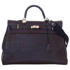 fbc122de9e46 Black leather travel bag HERMÈS Black