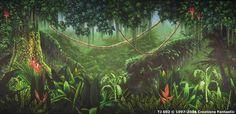Jungle backdrop Tropical Landscaping, Scenic Design, Tropical Birds, Art Google, Landscape Art, Backdrops, Project 4, Plants, Madagascar