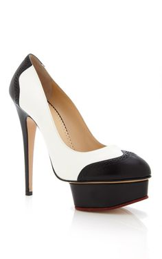 Charlotte Olympia Black And White Spectator Dolly Pump