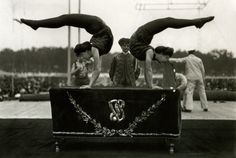 """As part of Barnum & Bailey's """"grand array of artistic gymnastic, acrobatic and equilibristic displays of grace, skill and strength,"""" the Dike Sisters performed a """"display of contortional cleverness and muscular control in artistic bending."""" See this photograph and more at the special exhibition HEYDAY: The Photographs of Frederick W. Glasier now through September 6th."""