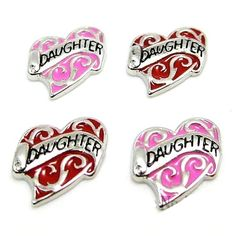 Daughter Pink heart Floating charms and 5 birthstones locket Charm Bracelets necklace