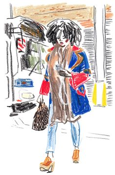 Artist Damien Cuypers at Illustration Division Crayon Drawings, Crayon Art, Art Drawings, Crayon Ideas, Illustration Sketches, Art Sketches, Fashion Illustration Collage, Clothes Design Drawing, Art Du Croquis