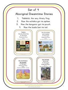 Thank-you for the taking the time to stop by my store. This download contains 4 Australian Aboriginal Dreamtime Stories in portrait orientation. 1. Tiddalick, the very thirsty frog 2. How the echidna got its spikes 3. How the kangaroo got its pouch 4.