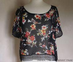 PACSUN BLACK POPPY Top Shirt M Black Orange Floral Sheer High Low Crop Loose SS #BLACKPOPPY #Blouse