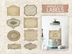 Digital Vintage Labels  Antique Printable Labels  by DIYVintageArt, $2.75