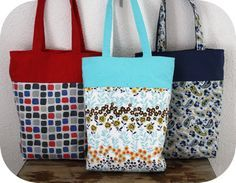 Reversible Tote Bags - I'm not sure how the handles work on a reversible tote bag (seems like the topstitching would set them going only in 1 direction), but the pics look like it works. Gonna have to give it a try!