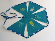Blue hessian - baby Hessian Bunting, Party Bunting, Stork, Pot Holders, Baby, Kids, Toddlers, Boys, Potholders