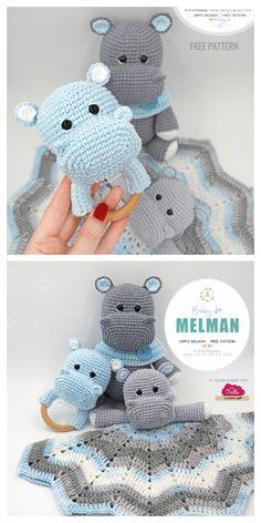 Crochet Lovey Free Pattern, Crochet Hippo, Crochet Animal Amigurumi, Crochet Baby Toys, Crochet Animal Patterns, Stuffed Animal Patterns, Amigurumi Patterns, Baby Blanket Crochet, Crochet For Kids