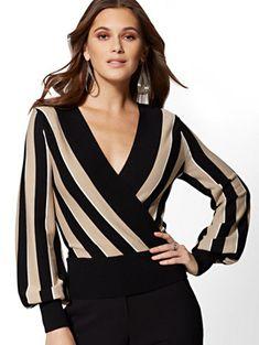 Black Stripe Wrap Sweater - Avenue - New York & Company - Women's style: Patterns of sustainability Blouse Styles, Blouse Designs, Make Up Studio, Executive Fashion, Sleeveless Turtleneck, Sleeveless Shirt, Stylish Tops, Stylish Office, Festival Outfits