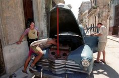 It's a constant struggle to keep old cars like this 1940's era Chevrolet running. Ingenuity, elbow grease and a little luck combine to keep home mechanics busy in Cuba.
