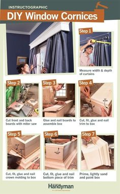 DIY: How To Build Window Cornices - build your own custom cornices for the price of store-bought. Window Cornices, Window Coverings, Window Treatments, Valances, Eames Design, Design Design, Pelmets, Diy Home Improvement, Diy Furniture