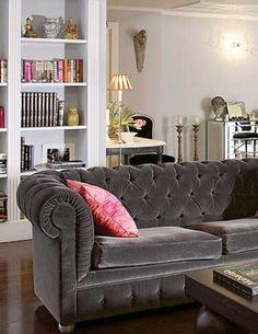 Silver grey velvet tufted chesterfield sofa