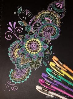 Pin by ☆ amulyaa ☆ on mandalas & zentangles in 2019 зентангл Doodle Art Designs, Sarra Art, Drawings, Mandala, Gel Pen Art, Mandala Design Art, Graph Paper Art, Art Tutorials, Pattern Art