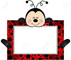 Illustration of Lovely Ladybird With Bank Label vector art, clipart and stock vectors. Ladybug Crafts, Ladybug Party, Cumpleaños Lady Bug, Party Photo Frame, Diy And Crafts, Crafts For Kids, Borders And Frames, Ideas Para Fiestas, Decorate Notebook