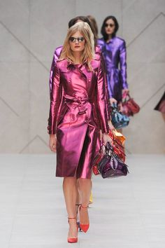 Metallic pink and purple trench coats at Burberry Prorsum 2013