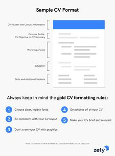 How to Write a Curriculum Vitae (CV) for a Job Application #zety #resumetemplate #coverletter #resumedesign #resumeexamples #resumetips #resumeexamplesforjobs #resume #resumelayout #resumewriting #resumeformat #perfectresume #bestresume Job Resume Examples, Cv Examples, Cv Format, Resume Format, Resume Layout, Resume Design, Best Resume, Resume Tips, Writing A Cv