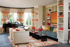 Living Room Decorating With Orange And Blue Design, Pictures, Remodel, Decor and Ideas