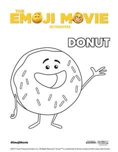 The Emoji Movie Donut Coloring Page Superman Coloring Pages, Emoji Coloring Pages, Heart Coloring Pages, Colouring Pages, Adult Coloring Pages, Donut Coloring Page, Emoji Movie, Printable Coloring Sheets, Hobbies And Crafts