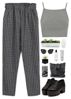 """""""Grey grid"""" by f-resh ❤ liked on Polyvore featuring Chicnova Fashion, Topshop, Samsung, Agonist, Lancôme and The Unbranded Brand"""