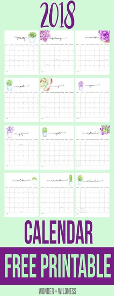 Free 2018 Printable Calendar - pretty calendar with succulent flowers on each month 2018 Printable Calendar, Free Printable Calendar, Printable Planner, Free Printables, 2019 Calendar, Diy Calendario, Calendar Board, Binder Covers, Planner Organization