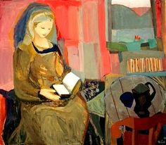 Lesende Kvinne (Reading Woman), 1940 , by Kai Breder Fjell (Norwegian, Girl Reading Book, Reading At Home, Reading Art, Woman Reading, Louis Aragon, Expressionist Artists, Expressionism, Books To Read For Women, Library Art